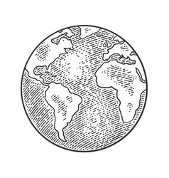 Earth planet globe black vintage engraving vector