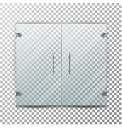 Glass door transparent realistic store vector