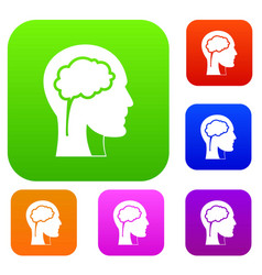 head with brain set color collection vector image vector image
