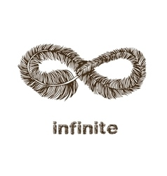 Infinite feather line drawing vector