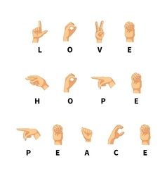 Love hope and peace words on hand language vector image