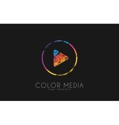 Media logo Color media Paly button logo Music vector image vector image