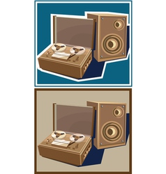 old reel tape recorder vector image