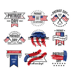 Patriot day on 11th of september emblems set vector