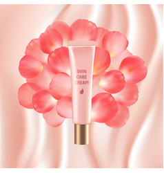 Pink tube cosmetic skin care cream rose petals vector
