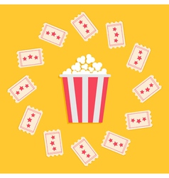 Popcorn Box and Ticket round frame with stars vector image vector image