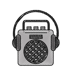 Radio music player with earphones vector