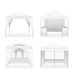 realistic outdoor folding tents set vector image