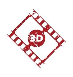 Red grunge 3d film logo vector image
