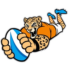 Rugby leopard mascot vector