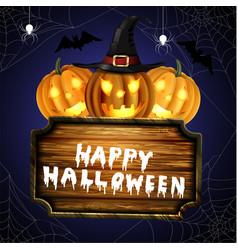 Scary jack o lantern halloween pumpkins vector