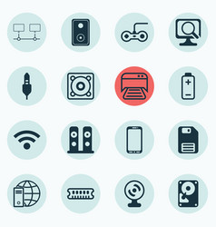 Set of 16 computer hardware icons includes audio vector