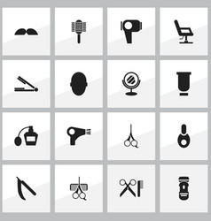 set of 16 editable coiffeur icons includes vector image