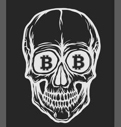 skull with bitcoin symbols vector image vector image