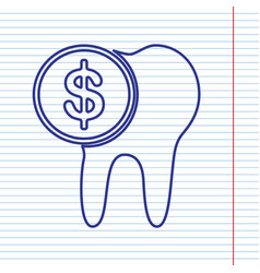 The cost of tooth treatment sign navy vector