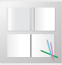 top view opened notebooks on spiral bound and vector image