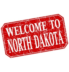 welcome to North Dakota red square grunge stamp vector image