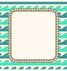 nautical ropes frame waves background vector image