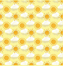 Sun with clouds seamless pattern vector