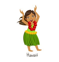 Girl in hawaii country national clothes wearing vector