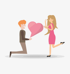man proposal kneel woman bubble speech vector image