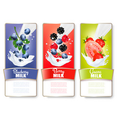 Set of three labels of of fruit in milk splashes vector