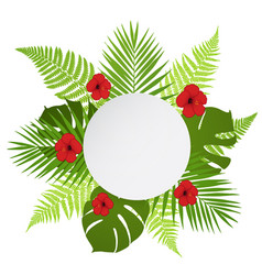 Round banner with palm fern and hibiscus vector