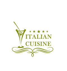 Olive in glass icon for italian cuisine vector