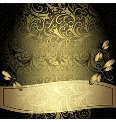 Black-gold vintage floral frame vector image