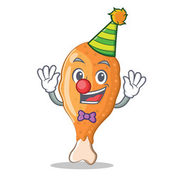 Clown fried chicken character cartoon vector