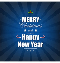 Blue Poster With Christmas Text vector image