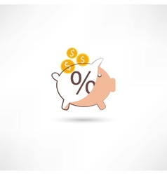 little moneybox with money vector image