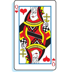 Cartoon queen of hearts playing card vector