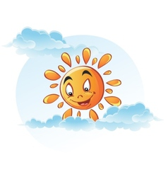 Cartoon image of sun in the clouds vector