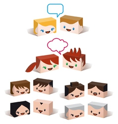 3d avatar heads vector