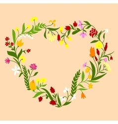 Spring wildflowers heart shaped frame vector