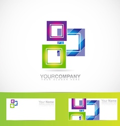 Blue green pink purple squares logo vector
