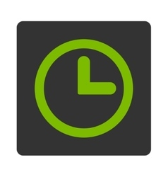 Clock flat eco green and gray colors rounded vector