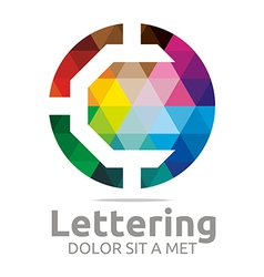 Logo abstract lettering c rainbow alphabet icon vector