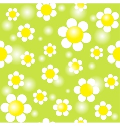 White chamomiles on a green background seamless vector image