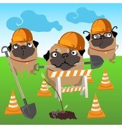 Three dogs builders plant a tree vector