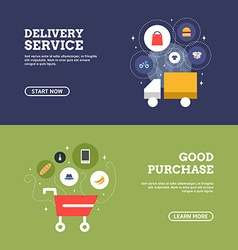 Good purchase delivery service set of flat design vector