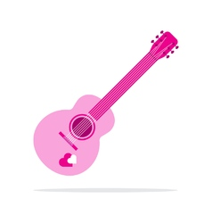Pink heart guitar icon flat style vector
