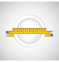 Plate and tape measure vector