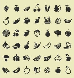 Fruit and vegetables icon vector