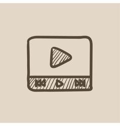 Video player sketch icon vector