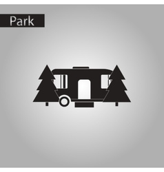 Black and white style icon trailer in forest vector