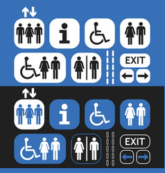 Black white and blue public access icons set vector