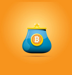 blue bitcoin wallet with coins isolated on vector image