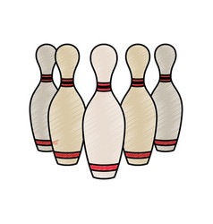 bowling pins sport game vector image